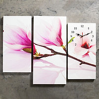Часы настенные модульные 'Веточка с фиолетовыми цветами', 60 x 80 см