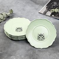 Набор тарелок 'Кошка', 20 см, зелёные, 6 шт