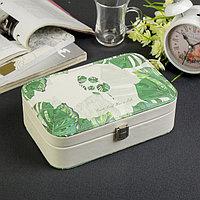 Шкатулка кожзам под часы 1 отделение и бижутерию 'Пальмовые листья' белая 7х22х14,5 см
