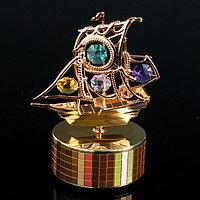 Музыкальный сувенир с кристаллами Swarovski 'Пиратский корабль' золото 12,2х9,3 см