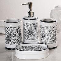 Набор аксессуаров для ванной комнаты 'Пионы', 4 предмета (дозатор 300 мл, мыльница, 2 стакана), цвет МИКС