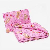 Комплект в кроватку для девочки (одеяло 110*140 см, подушка 40*60 см), цвет МИКС
