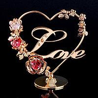 Сувенир с кристаллами Swarovski 'Love с цветами' 12,2х11,5 см