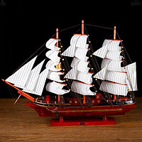Корабль сувенирный большой 'Гайрет', борта красное дерево, паруса белые, 82x13x62 см