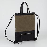 Рюкзак молодёжный, отдел на шнурке, наружный карман, цвет зелёный
