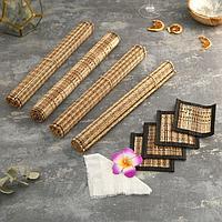 Кокосовые коврики для сервировки 'Лето' 4 шт 35х15х3 см (палочки + подставки под горячее)