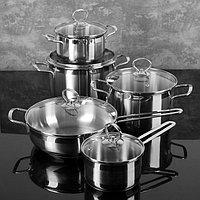 Набор посуды 'Лотос. Классика' 5 предметов кастрюли 1,8 л, 3 л, 4 л, ковш 1 л, сковорода 2,8 л, капсульное