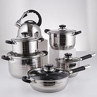 Набор посуды, 6 предметов чайник 3,5 л, ковш d16 см, кастрюли d18, d20, d24 см, сковорода d24 см, индукция