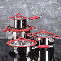 Набор посуды MCFR, 4 предмета ковш 1,8 л кастрюля 2,8 л, сковорда d25 см, кастрюля 5,6 л
