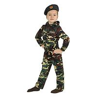 Карнавальный костюм 'Спецназ', куртка с капюшоном, брюки, берет, рост 104 см