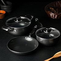 Набор посуды 'Гранд', 3 предмета кастрюля 1,2 л, ковш 750 мл, сковорода, стеклянные крышки 2 шт