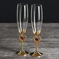 Бокалы свадебные с кристаллами Swarovski 'Цветущая любовь' золото 23,5х6,1 см (набор 2 шт)