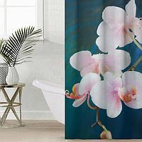 Штора для ванной комнаты Сирень 'Белая орхидея на синем', 145x180 см, оксфорд