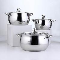 Набор посуды 'Танто', 3 предмета 2 л, 3,8 л , 6,3 л , индукция