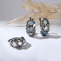 Гарнитур посеребрение 2 предмета серьги, кольцо, магия 'Опал', 17 размер