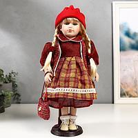 Кукла коллекционная керамика 'Марина в бордовом платье в клетку' 40 см