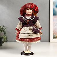 Кукла коллекционная керамика 'Ульяна в полосатом платье с передником' 40 см