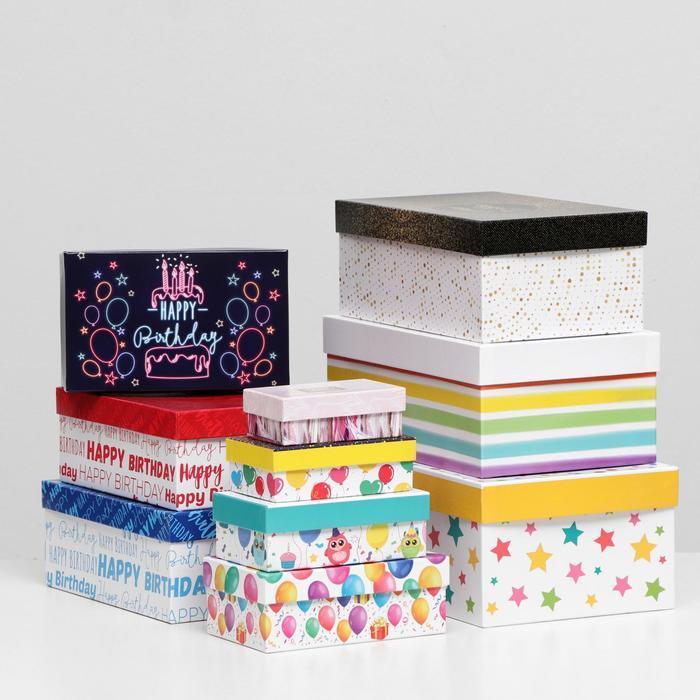 Набор коробок 10 в 1 'С Днём Рождения', 30,5 х 20 х 13 - 12 х 6,5 х 4 см - фото 1