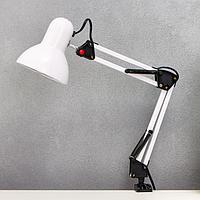 Лампа настольная Е27, h55 см, шарнирная, на зажиме (220В) белая