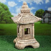 Садовая фигура-светильник 'Китайский дом', шамот, 35 см, без элемента питания