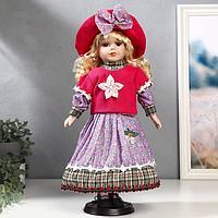Кукла коллекционная керамика 'Блондинка с кудрями, розовая свитер, юбка сирень' 40 см