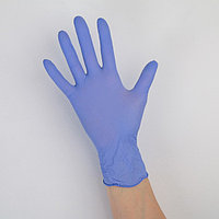 Перчатки нитриловые, текстурированные на пальцах A.D.M. 'Стандарт', размер S, 100 шт/уп, 7г, цвет фиолетовый