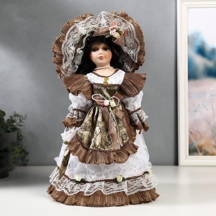 Кукла коллекционная керамика 'Леди Кларис в платье цвета мокко' 40 см - фото 1