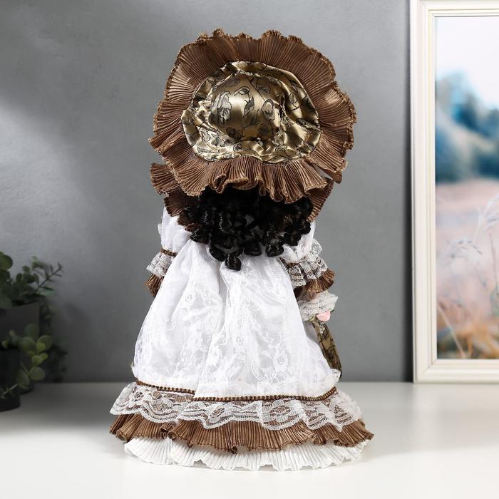 Кукла коллекционная керамика 'Леди Кларис в платье цвета мокко' 40 см - фото 4
