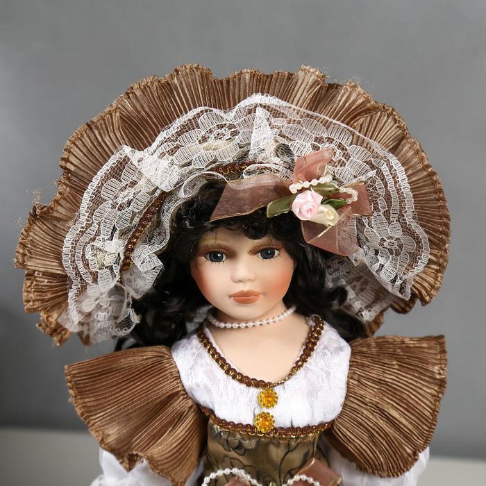 Кукла коллекционная керамика 'Леди Кларис в платье цвета мокко' 40 см - фото 5