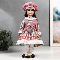 Кукла коллекционная керамика 'Катя в платье в полоску и розовом жилете' 40 см