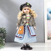 Кукла коллекционная керамика 'Блондинка с кудрями, голубая юбка, пиджак в клетку' 40 см