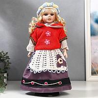 Кукла коллекционная керамика 'Блондинка с кудрями, алый свитер с цветочками' 40 см