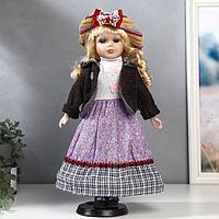 Кукла коллекционная керамика 'Блондинка с кудрями, сиреневая юбка, шляпка полоски' 40 см