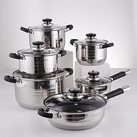 Набор посуды, 6 предметов кастрюли d16, d18, d20, d24 см, ковш d16 см, сковорода d24 см, силиконовые ручки,