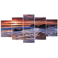 Модульная картина 'Камни в море' (2-20х30 2-20х40 1-20х50) 100х50 см