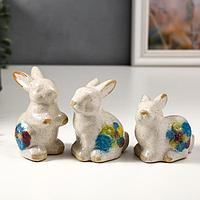 Сувенир керамика 'Зайчики с цветами' набор 3 шт 9х6х5 см (комплект из 2 шт.)
