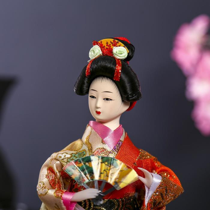 Кукла коллекционная 'Гейша с веером' 27х12,5х12,5 см - фото 5