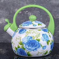 Чайник со свистком Доляна 'Пионы', 2,2 л, фиксированная ручка, цвет зелёный