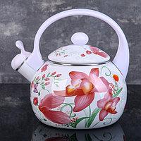 Чайник со свистком Доляна 'Нарцисс', 2,2 л, фиксированная ручка, цвет белый