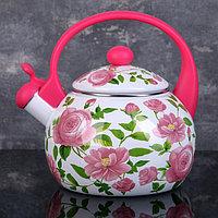 Чайник со свистком Доляна 'Любовь', 2,2 л, фиксированная ручка, цвет розовый