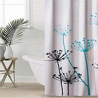 Штора для ванной комнаты Доляна 'Укроп', 180x180 см, полиэстер, с люверсами, цвет белый