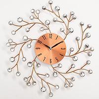 Часы настенные, серия Ажур, 'Цветы сакуры', плавный ход, 38 х 38 см, d циферблата13 см