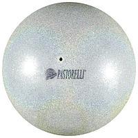 Мяч Pastorelli Glitter HIGH VISION 18 см, цвет серебристый/жёлтый
