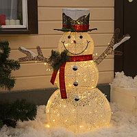 Фигура светодиодная металл. 'Снеговик' 115x45x160 см, кружева, 100 LED, 220V, Т/БЕЛЫЙ