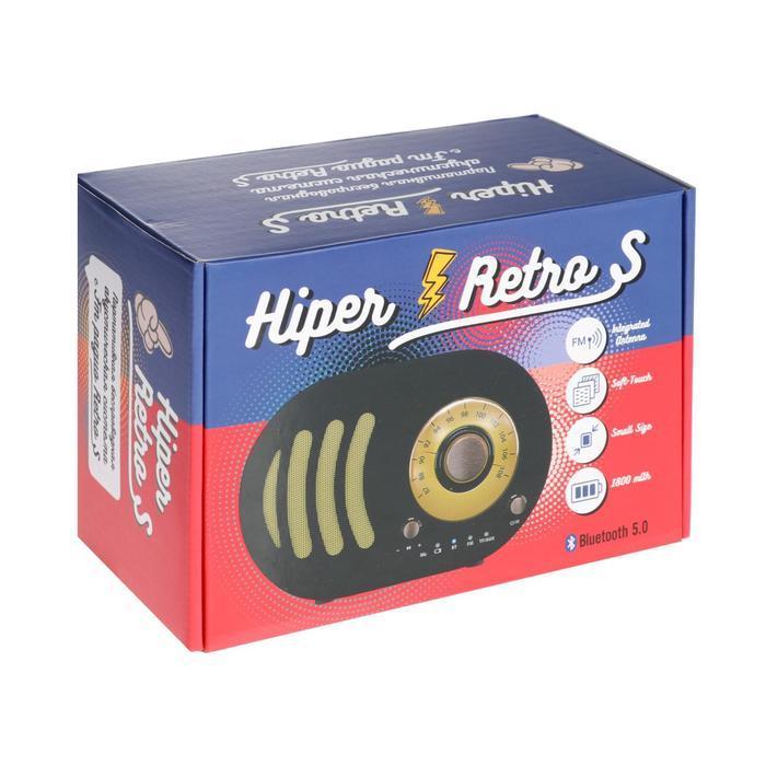 Портативная колонка Hiper RETRO S, BT, 5 Вт, Micro-USB, 1800 мАч, черная - фото 6