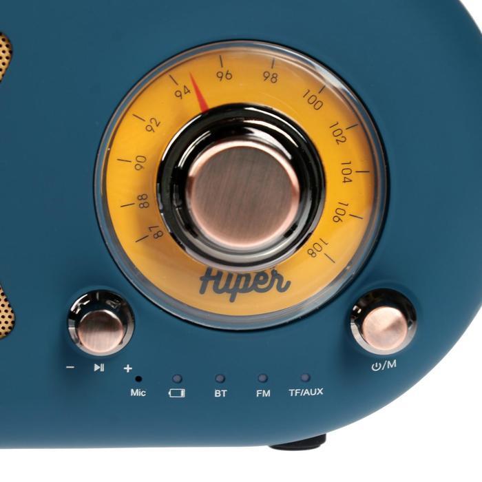 Портативная колонка Hiper RETRO S, BT, 5 Вт, Micro-USB/AUX, 1800 мАч, синяя - фото 2