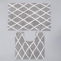 Набор ковриков для ванны AntiSlip, 2 шт 50x80 см, 50x50 см, 100 хлопок, цвет серый