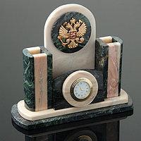 Набор письменный 'Герб' часы, визитница, подставки для ручек