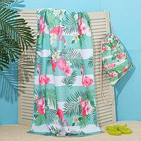 Полотенце пляжное в сумке Этель 'Фламинго', 70*140 см, микрофибра, 100 п/э