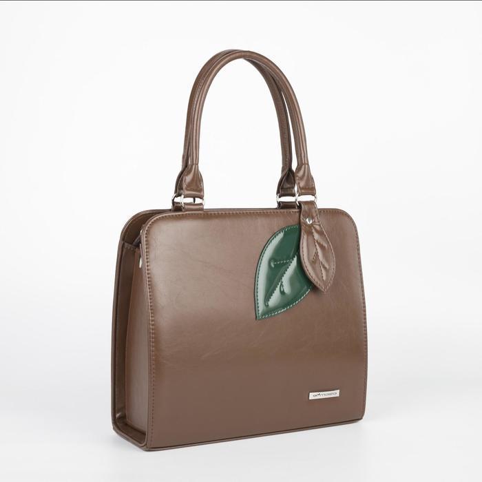Сумка женская, отдел на молнии, наружный карман, длинный ремень, цвет коричневый - фото 1